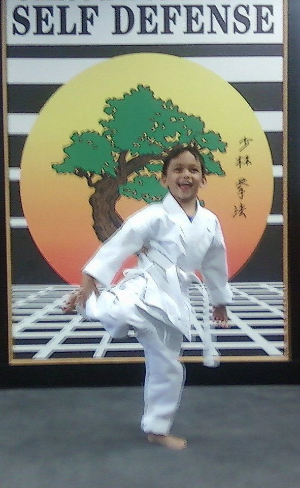 "Sherrill sent us a few pictures of ""Karate Peyton"" and his sensei (teacher)."