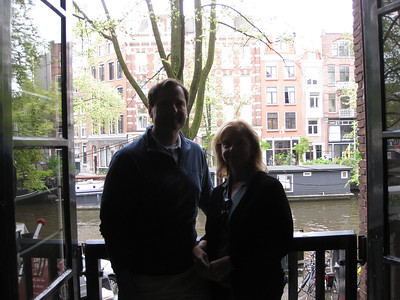 Mom and Dad in 2nd floor window at Pancake Bakery