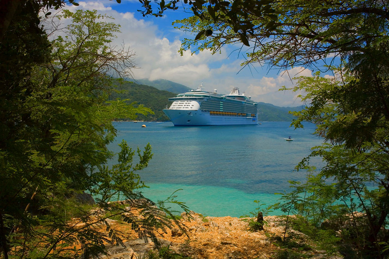"""Our cruise to the Caribbean on the brand new Royal Caribbean cruiseship called  """"Liberty of the Seas"""". This was the maiden voyage in the eastern Caribbean. Kind of cool being on a brand new ship. This photo was taken on the beach at Labadee, Dominican Republic."""