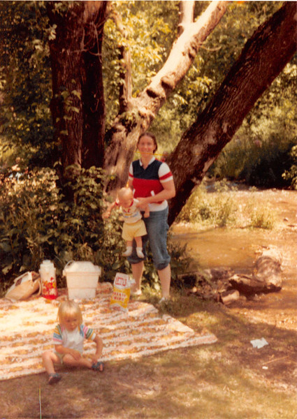 July 4, 1981<br /> up Provo Canyon, UT for a picnic<br /> Teresa (almost 2 1/2 yrs.) Craig (7 months) & mommy