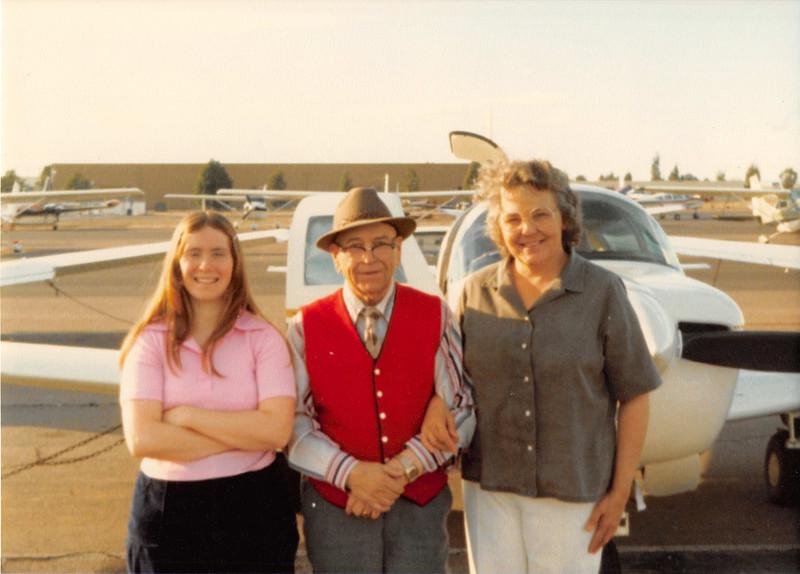 Feb. 26, 1981<br /> Phoenix, AZ<br /> Vickie, Grandpa Farnsworth, Mom M. at airport