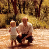 July 4, 1981<br /> up Provo canyon, UT <br /> Teresa (almost 2 1/2 yrs.) and Bob cooling off in the water.