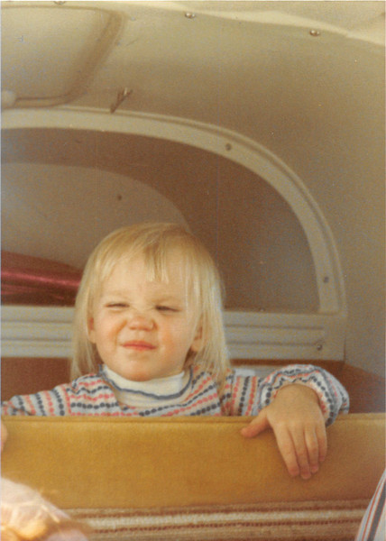Feb. 26, 1981<br /> Phoenix, AZ<br /> Teresa in the back of Grandpa M's airplane on her birthday.