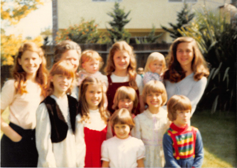 March 1981<br /> 262 Marich Way, Los Altos<br /> L to R--(back row)--Heather S., grandma, Natalie S. Kiersten, Teresa & Michele<br /> (middle row)  Jennifer S., Elizabeth R., Sarah R., & Rachel S.<br /> (front row)  Brynne C. & Darcy S.