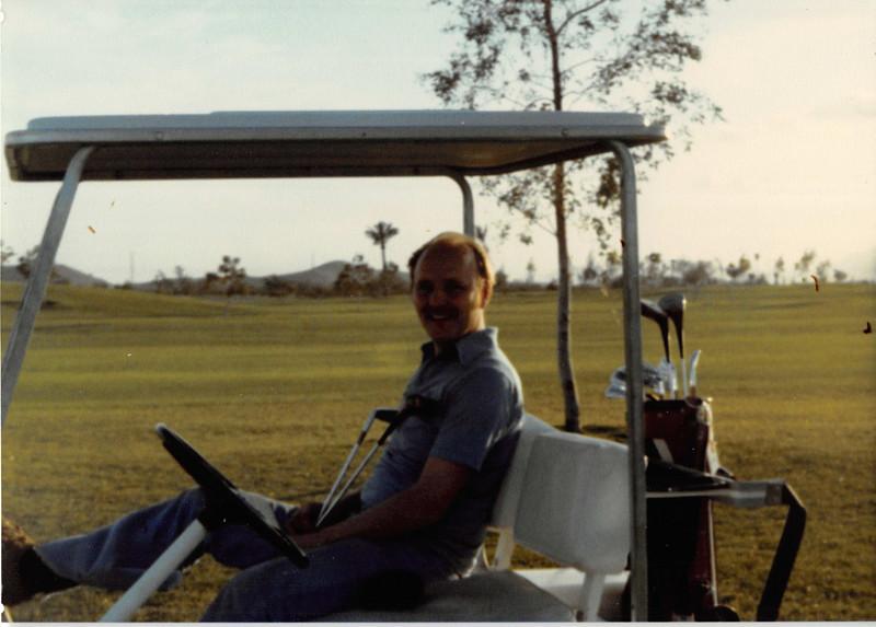 Feb. 1981<br /> Phoenix, AZ<br /> Awatukee Golf Course<br /> Bob in the golf cart