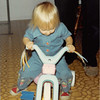 Dec. 25, 1980<br /> 1104 W. 680 S. Orem, UT<br /> Teresa trying her mini hot cycle.