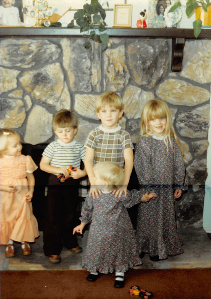 January 1981<br /> 1104 W. 680 S. Orem, UT<br /> L to R--Teresa, David, John, Wendy & Becky Vogelsberg (neighbors).