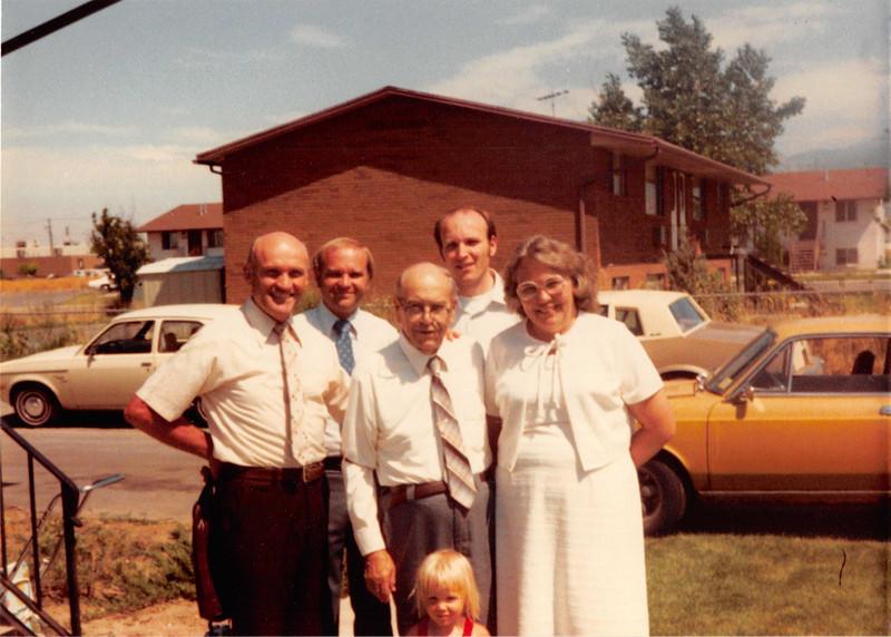 July 1981<br /> 1484 S. 400 E., Orem, UT<br /> Dad M., Jerry, Grandpa Farnsworth, Joe, Mom M., and Teresa in front.