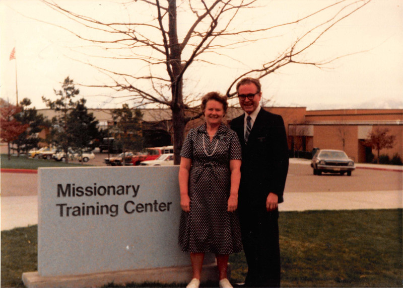 March 1981<br /> Missionary Training Center, Provo, UT<br /> Mommy and Daddy R. (entering the MTC)