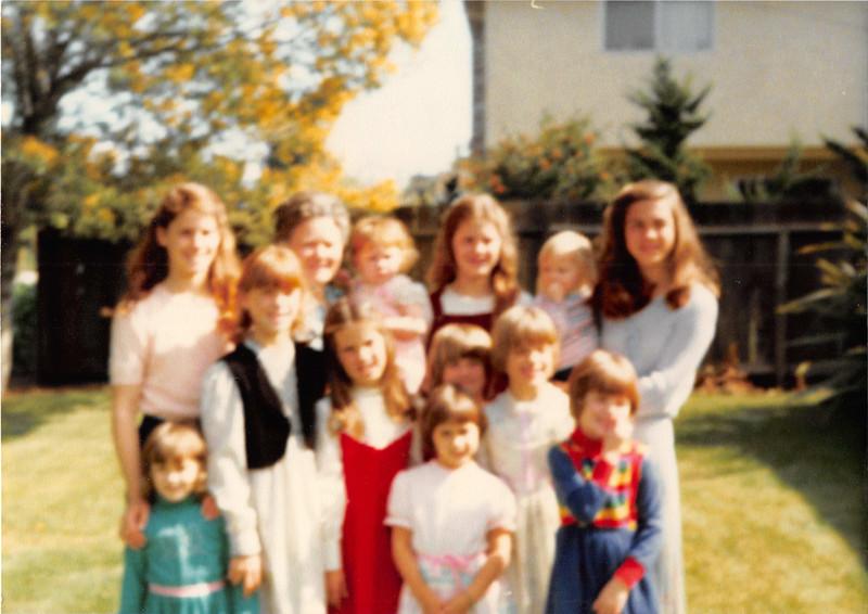 March 1981<br /> 262 Marich Way, Los Altos, Ca<br /> L to R--(back row)  Heather S., grandma, Natalie S., Kiersten S., Teresa, Michele R.<br /> (middle row)  Heidi S. Jennifer S., Elizabeth R., Sarah R., & Rachel S.<br /> (front row) Brynne C. & Darcy S.