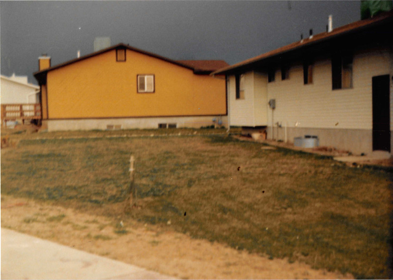 Feb. 1981<br /> 1104 W. 680 S. Orem, UT<br /> backyard of our first house.
