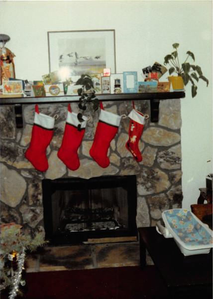 Dec. 25, 1980<br /> 1104 W. 680 S. Orem, UT<br /> Stockings after Santa came.