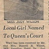 Miss Judy Wilson, daughter of Mr & Mrs Russell Wilson Named to Queen's Court