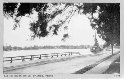 vintage postcard of the Sabine River Drive