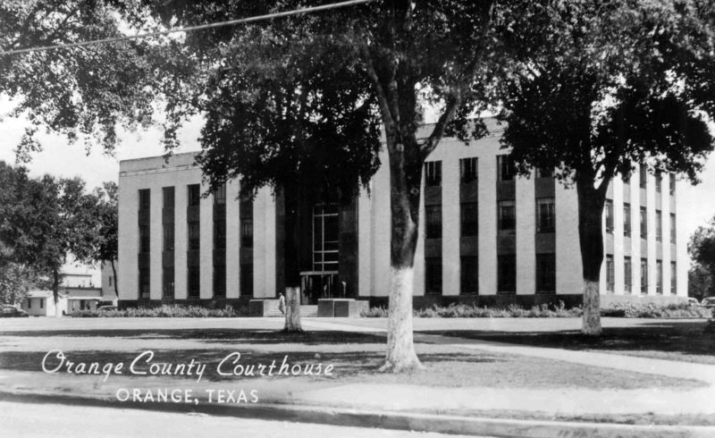"This courthouse was built in 1939, on the back of the postcard, Nedra Austin had written that the older courthouse that still stood behind it (which is no longer there) was much prettier. <br /> <br /> You can read more about the Orange County Courthouse at: <br /> <br />  <a href=""http://www.texasescapes.com/TexasGulfCoastTowns/Orange-County-Courthouse-Texas.htm"">http://www.texasescapes.com/TexasGulfCoastTowns/Orange-County-Courthouse-Texas.htm</a><br /> <br /> Or click on the following link to see my 2005 photos of the courthouse:<br /> <br />  <a href=""http://jeneanne.smugmug.com/gallery/747817"">http://jeneanne.smugmug.com/gallery/747817</a>"