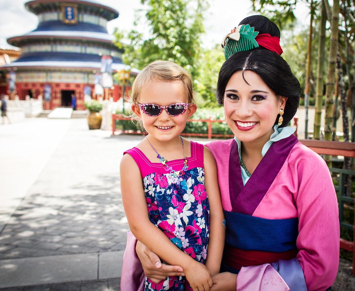 Audrey and Princess Mulan at Disneyworld