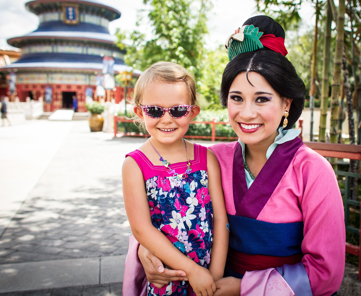 Audrey and Princess Mulan at Disneyworld
