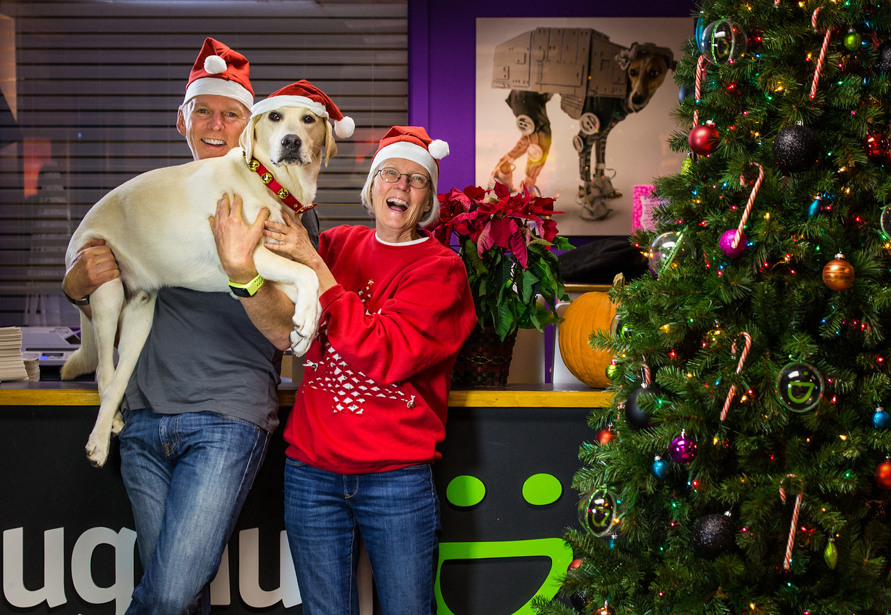 Baldy, Toni, Bodie at SmugMug's Christmas party