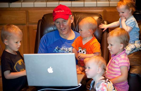 Grandkids watchin' Baldy's home movies.