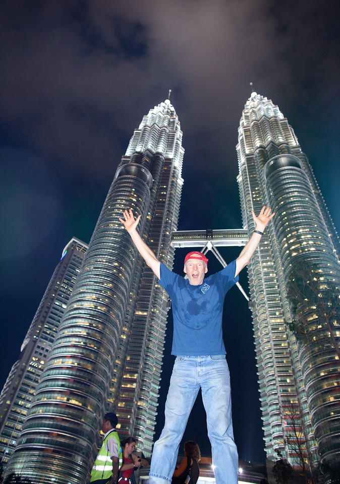 Baldy in front of Petronas Towers