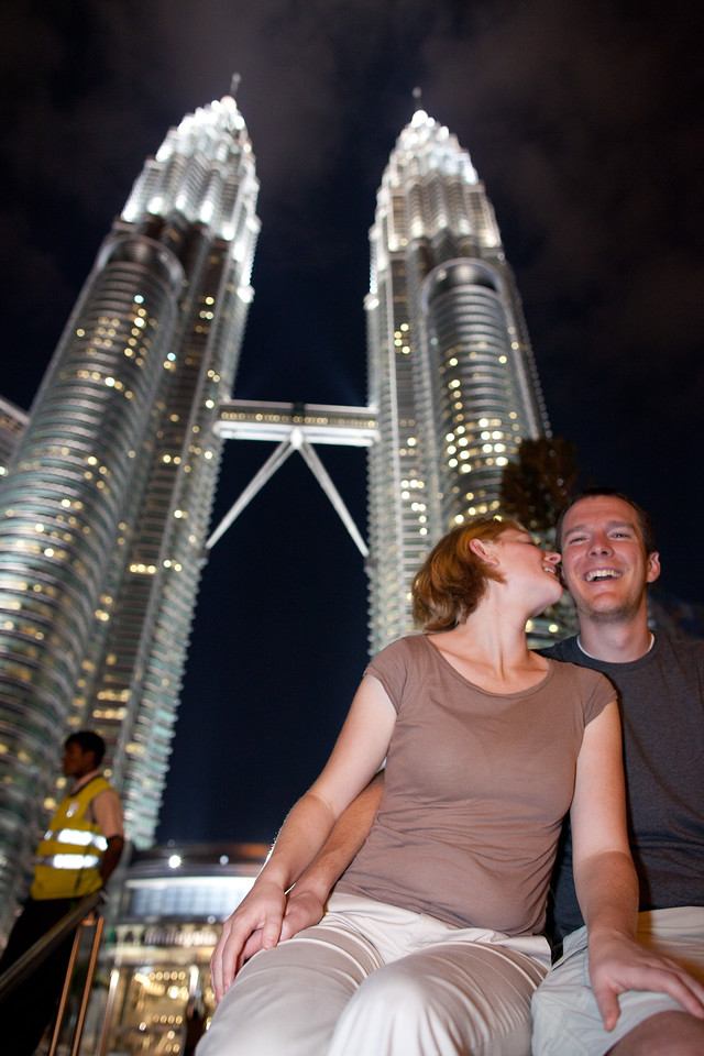 Ben and Kim in front of Petronas Towers in Malaysia
