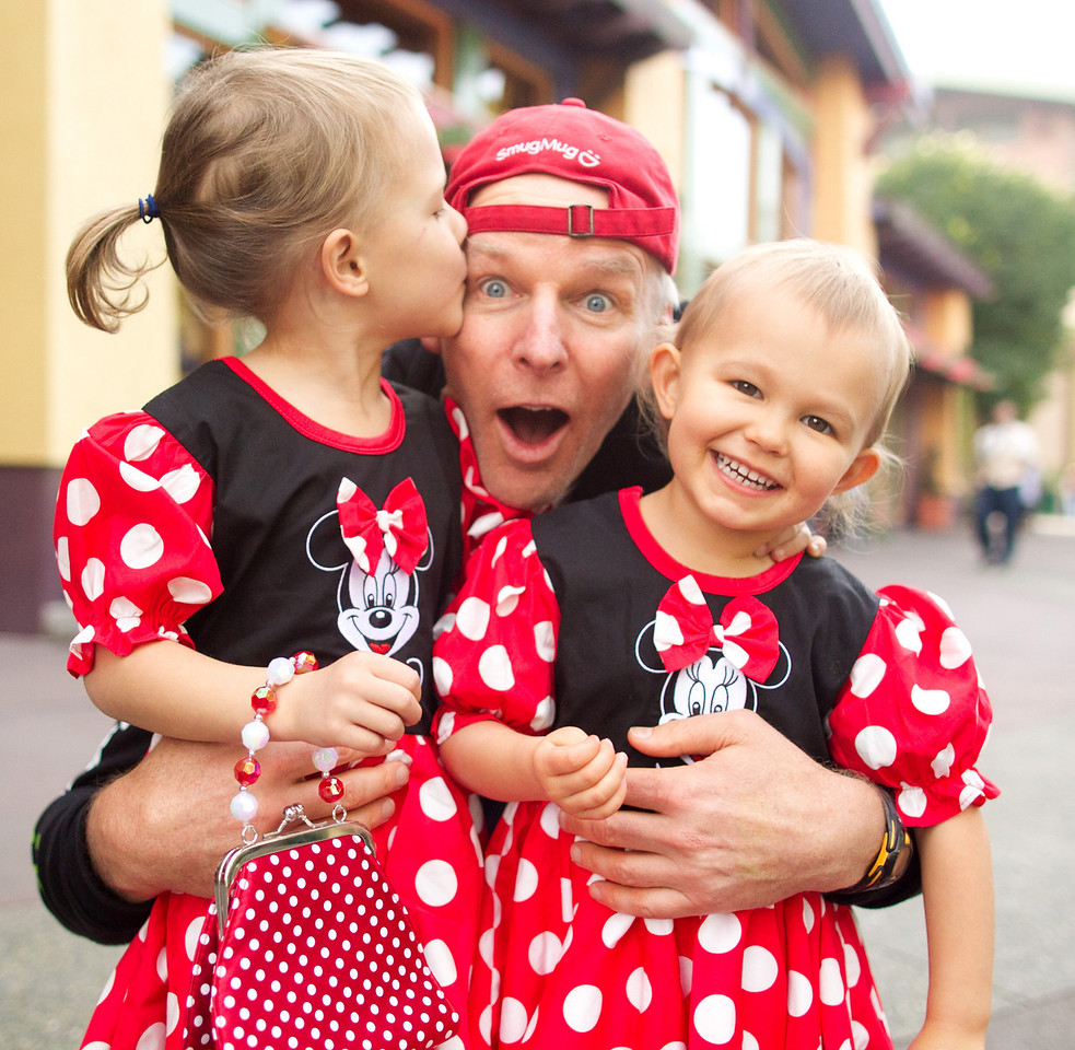 Baldy with Leia and Audrey in Minnie Mouse dresses