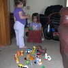 Alyce watching Kelli demonstrate the Ball game.