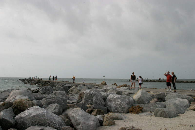 South and North Jetties, Venice Island and in the distance Nokomis.  12/15/07