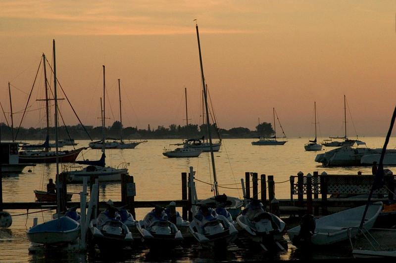 Sunset off the coast of Sarasota Bay.