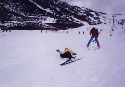 Oops! Wendy's skiing not a success...