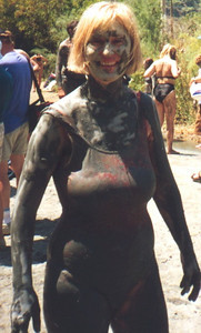 Wendy at a mudbath in Turkey.  This mud is said to be so health-giving that you emerge 10 years younger.  Not so good for those under 11 when they go in...
