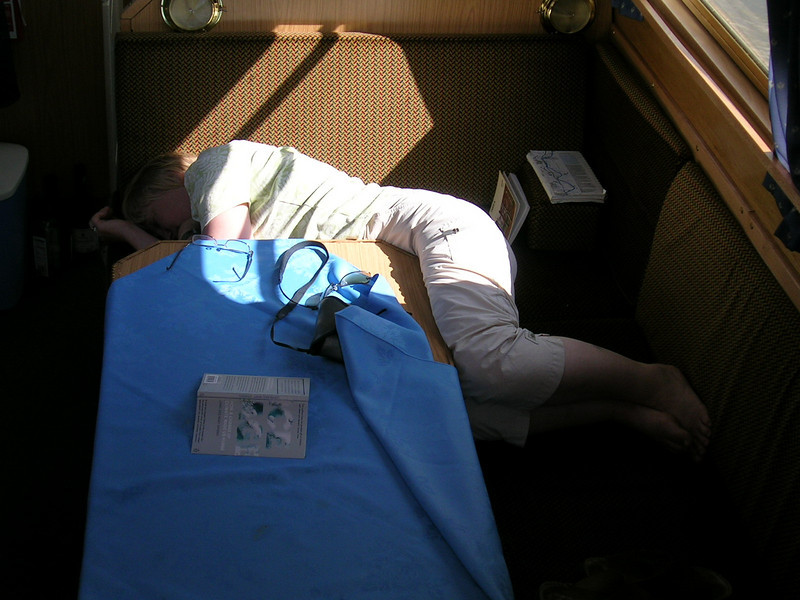 asleep on a narrow boat on the Oxford Canal