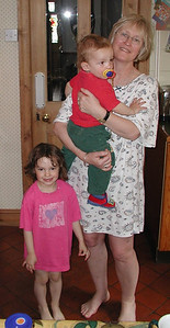 Celia, Harvey and Granny in our kitchen at No 41 - probably the first time they stayed with us without their parents