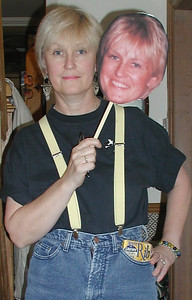 Wendy with a choice of heads - in fancy dress as a younger version of herself for Tanya's 40th