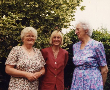 with my Aunt Betty (on a visit from Oz) and my Mum in her Bedford garden, before she came to live near us in Melton
