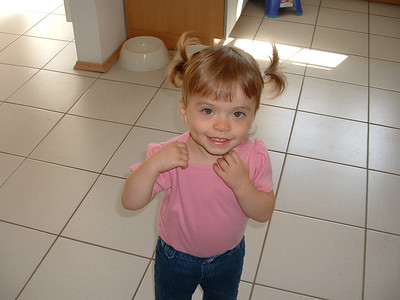 This is our first attempt at pigtails.  Believe it or not, she's 2 and has not had her hair cut!  It just won't grow.  :)