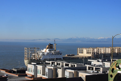 Looking out at the Olympic Mountains over Elliot Bay.