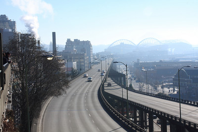 Looking down the Viaduct with Saefco field in the background through the industrial haze.