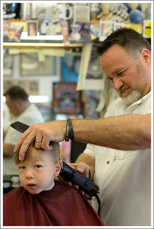 Tyler getting a haircut