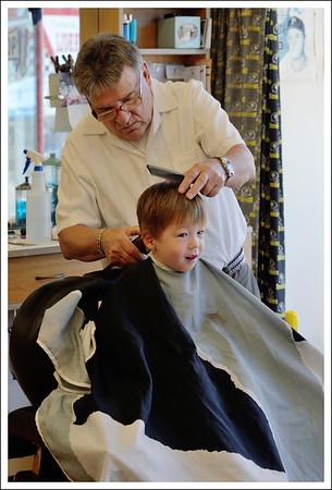 Aiden getting his haircut