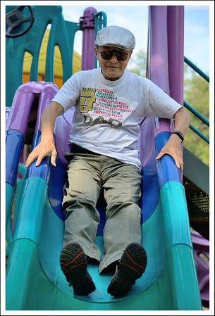 Grandpa on the slide