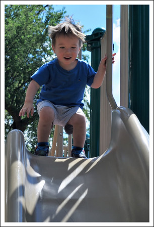 Aiden on the slide at the nearby park.