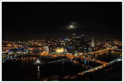 Pittsburgh, from the window of a wonderful seafood restaurant on Mt. Washington.