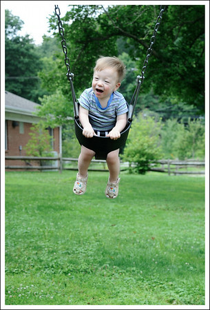 Tyler on the swing.  I think he would be happy to swing forever.