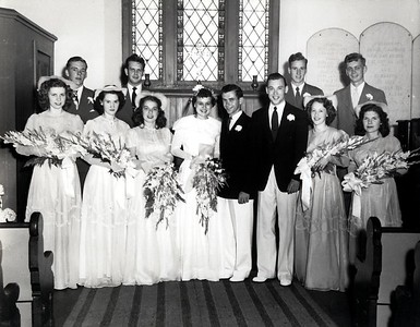 Mom and Dad's wedding, July 12, 1948 (I think!) First row:  Joyce Ann Calhoun Miller, ??, Lois O'Neil; Mom/Dad; Uncle Bob Bishop; ?? Priscilla Porter - one of the question marks is Marian Habershaw. I only know one of the men in the back.  The man at the far right is Tom McCarthy (one of my girlfriend's father!)