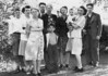 Robert, Marie, Carrie, Louise, Roger, Carol, Dick, Helen.  Binder 1939-1955 p.46-03, Group photos Palo Alto, April 14, 1946