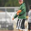 Andrew coaching freshman football at Menlo-Atherton High School.