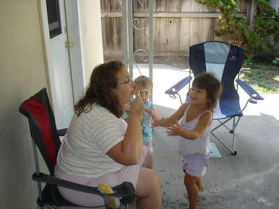 Blowing bubbles with Marianna