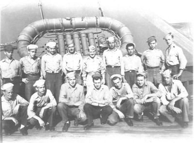 "The ""Lookout"" crew.  Assigned to scan the horizon in 4 hour shifts for enemy planes and submarine periscopes.  My Dad is standing in the second row second from the right."