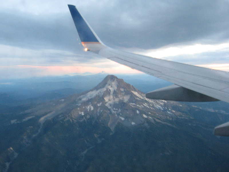 Mt Hood on the approach to Portland, OR